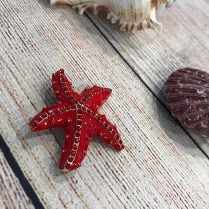 Betsey Johnson Red Starfish Brooch